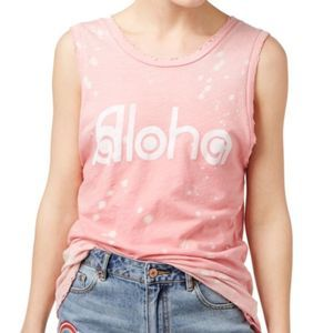 NEW! MACY'S JUNK FOOD ALOHA GRAPHIC TANK PINK L